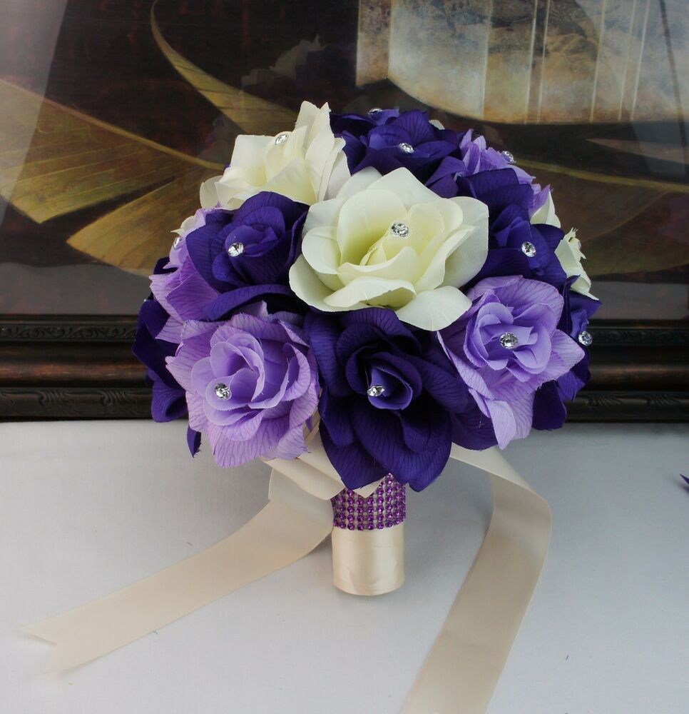 purple and lavender wedding bouquets bridal bouquet purple lavender ivory wedding silk flower 6871