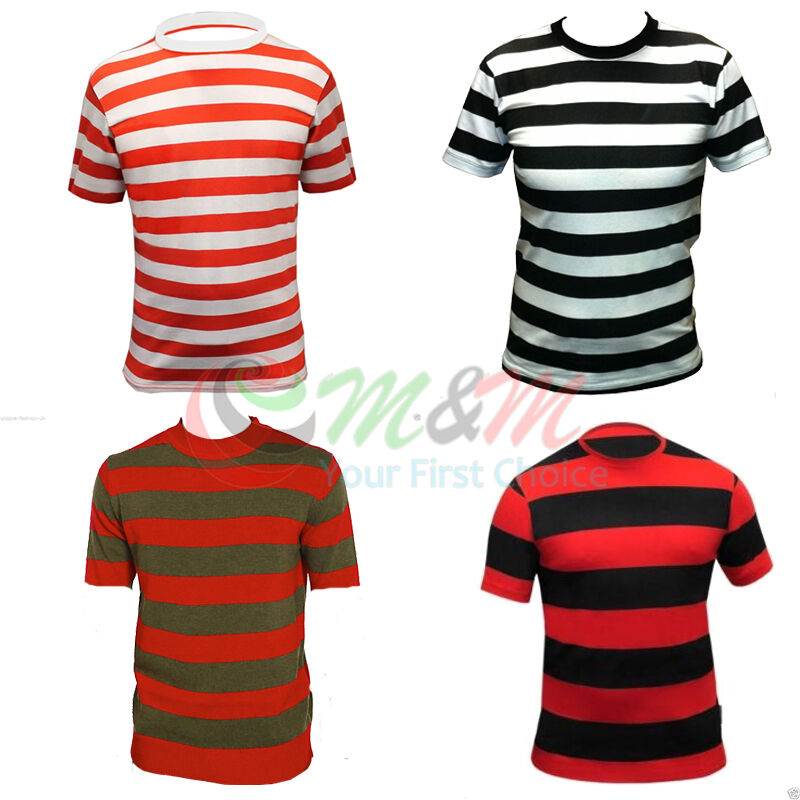 Mens red and white blue and white striped sailor prisoner for Mens red and white striped dress shirt