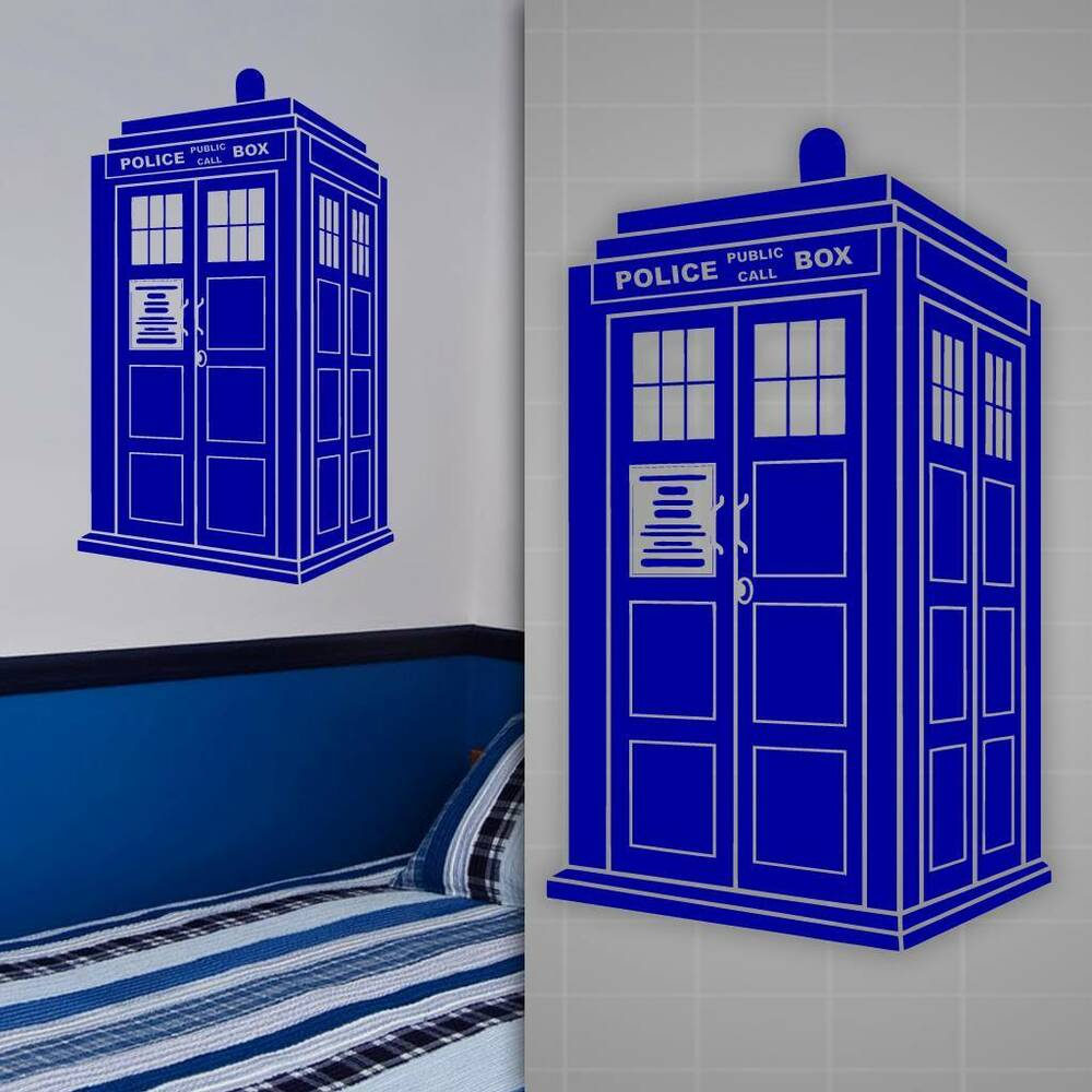 tardis wall decal doctor who style sticker kids room wall decor 36 x 22 ebay. Black Bedroom Furniture Sets. Home Design Ideas