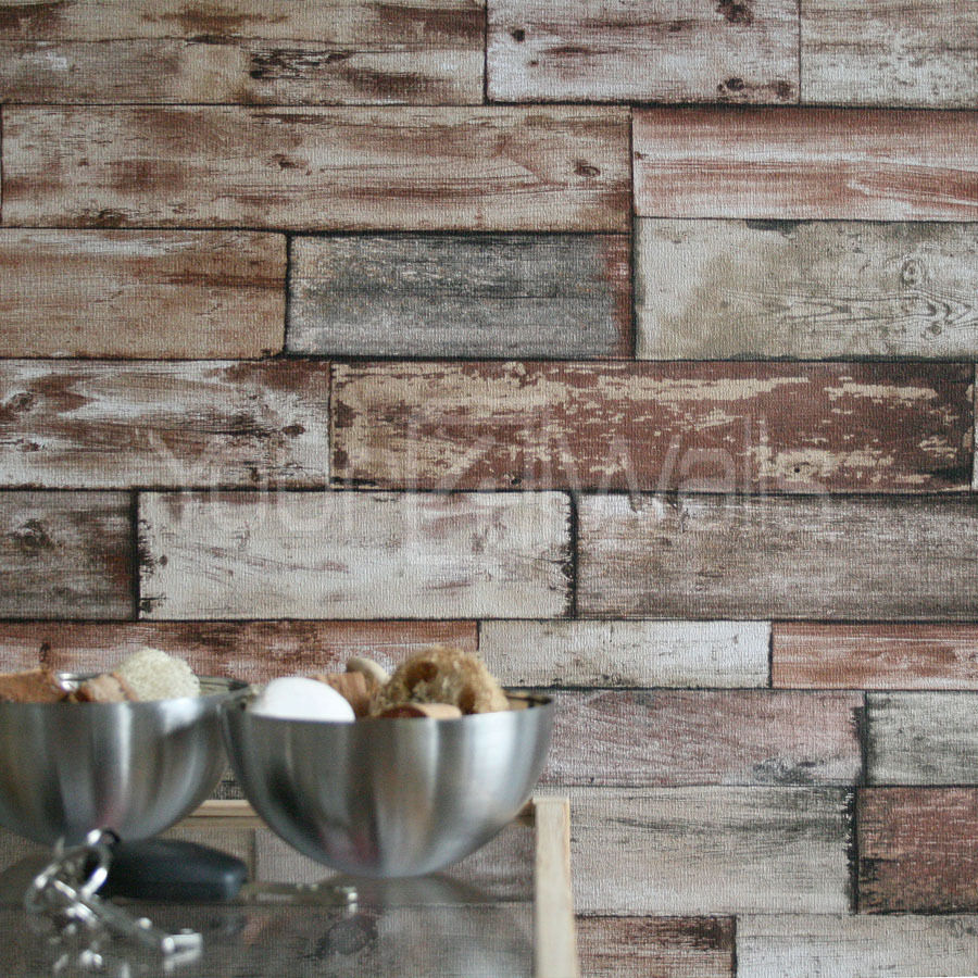 rustic wood scrapwood reclaimed wood wallpaper beige