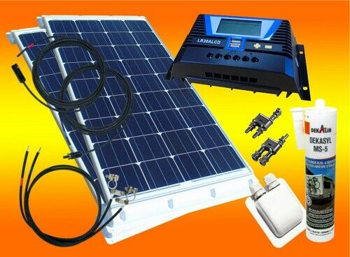 200 watt wohnmobil camping solaranlage 12 volt set pv. Black Bedroom Furniture Sets. Home Design Ideas