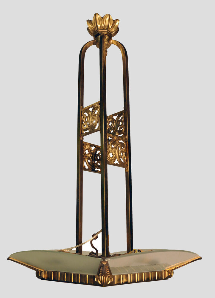 French Bronze Art Deco Modern Chandelier With Frosted