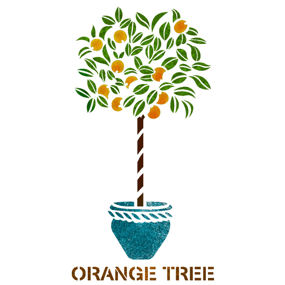 Orange Tree Stencil Reusable Template For Canvas Craft