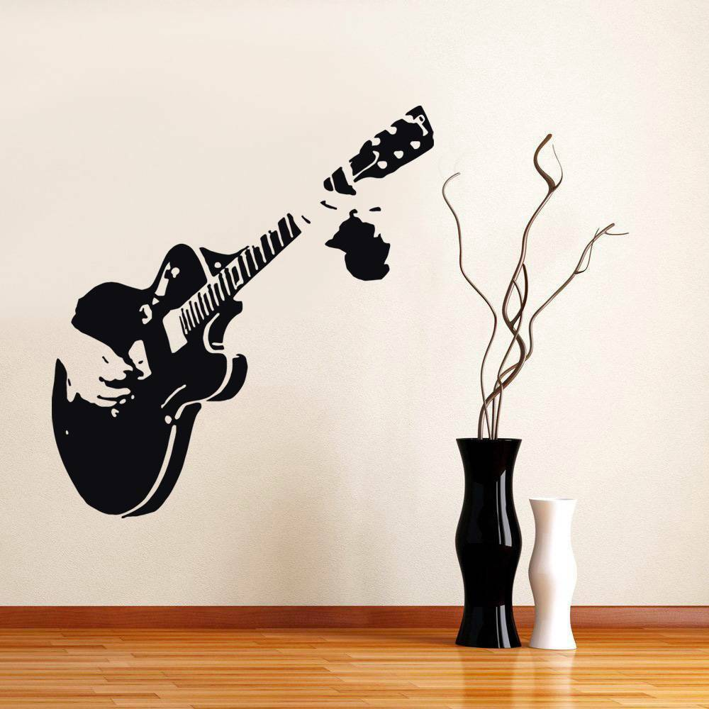 guitar decal wall sticker home decor art guitarist rock all colors sizes st60 ebay. Black Bedroom Furniture Sets. Home Design Ideas
