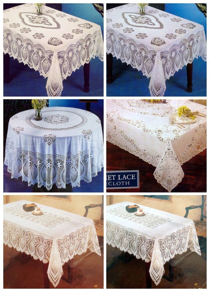 Vintage Chic Elrene Crochet Vinyl Lace Tablecloth Pick
