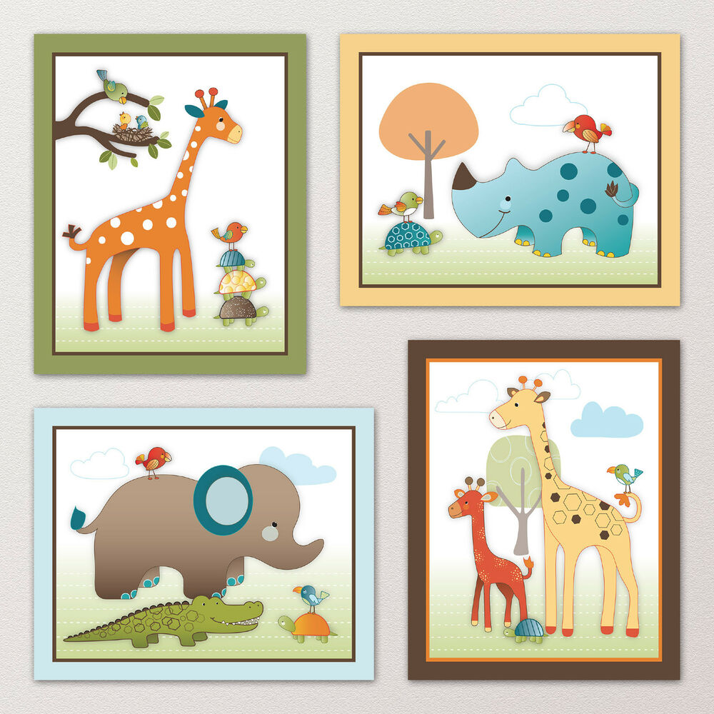 Giraffe safari jungle animals elephant nursery kids baby for Nursery wall art
