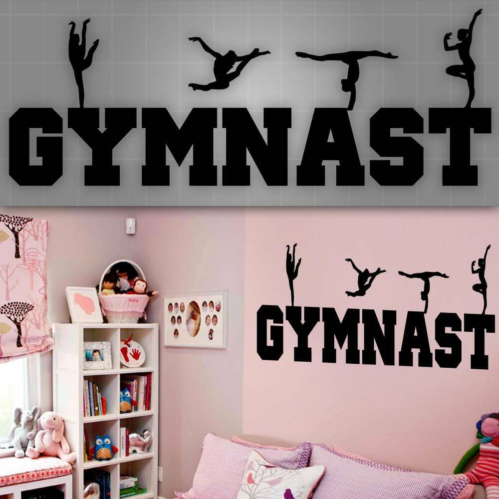 Gymnast Wall Decal, Girls Gymnast Wall Sticker, Girls Room