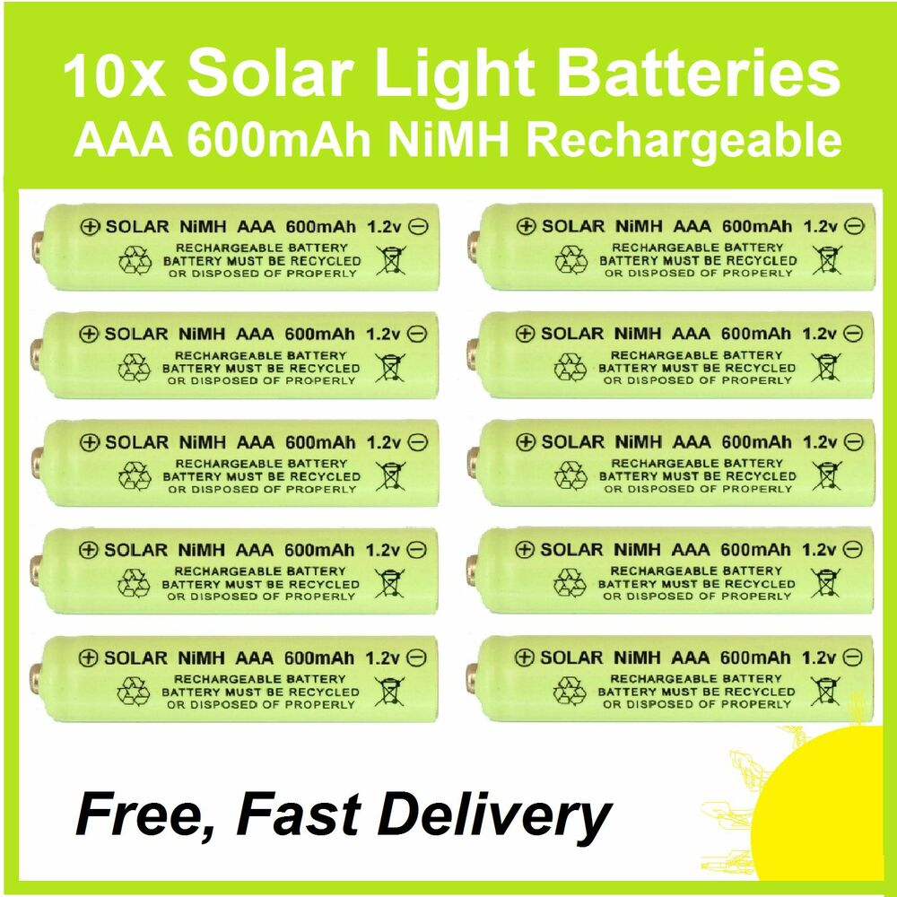 10 x aaa 1 2v 600mah nimh rechargeable batteries for solar lights replace nicd ebay. Black Bedroom Furniture Sets. Home Design Ideas