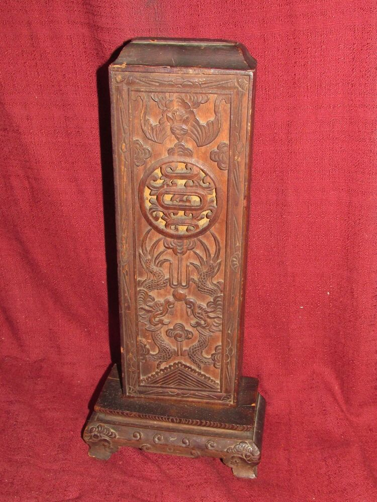 Antique chinese wood carving alter piece prayer holder for Wood in chinese