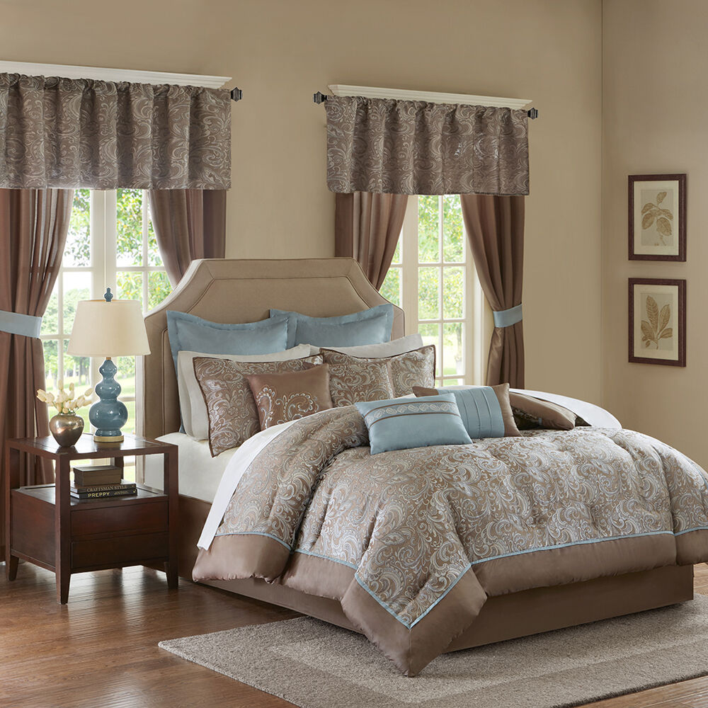Beautiful 23pc modern rich elegant brown blue taupe grey for Elegant white comforter sets