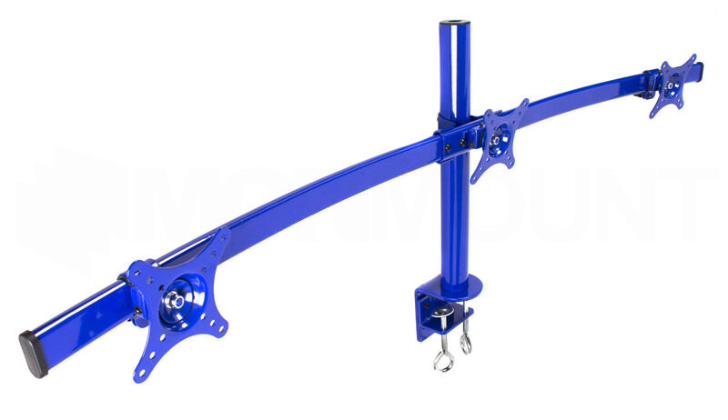 Monmount Blue Curved Triple Lcd Monitor Mount Up To Three