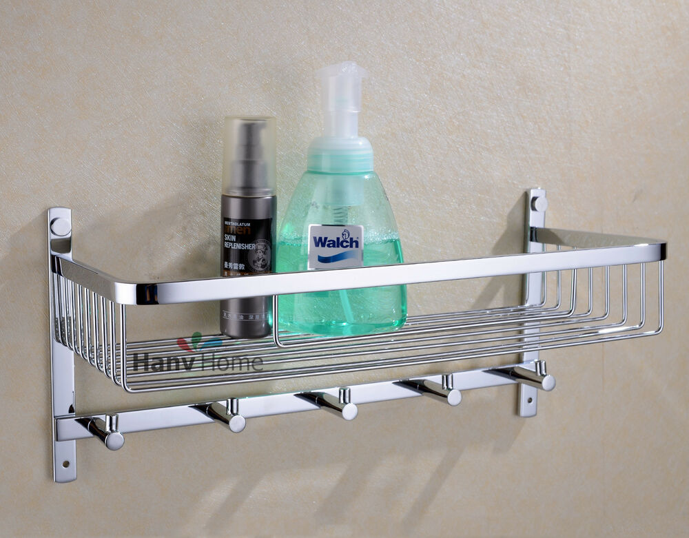 Bathroom stainless steel shower shelf caddy basket storage with robe