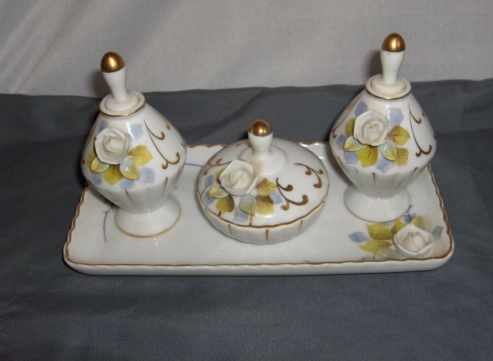Ucaqco 7 Pc White Roses Porcelain Vanity Set Perfume Bottles Tray Trinket Box Ebay