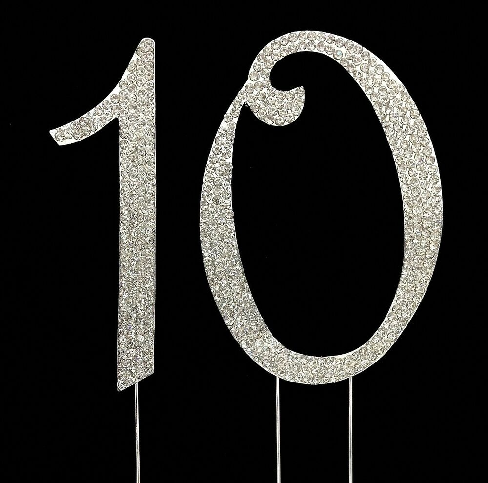 Large 10th Birthday Anniversary Number Cake Topper