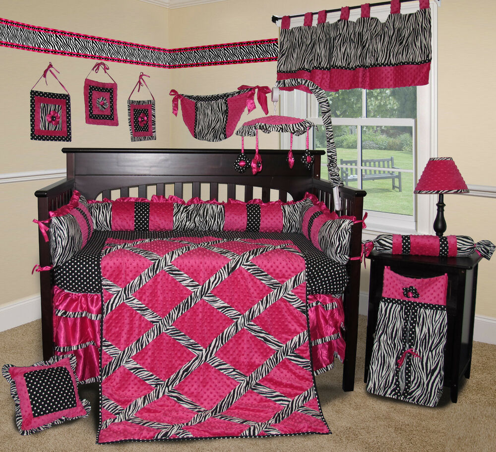 Baby boutique hot pink zebra 14 pcs crib bedding set for Zebra print and red bathroom ideas