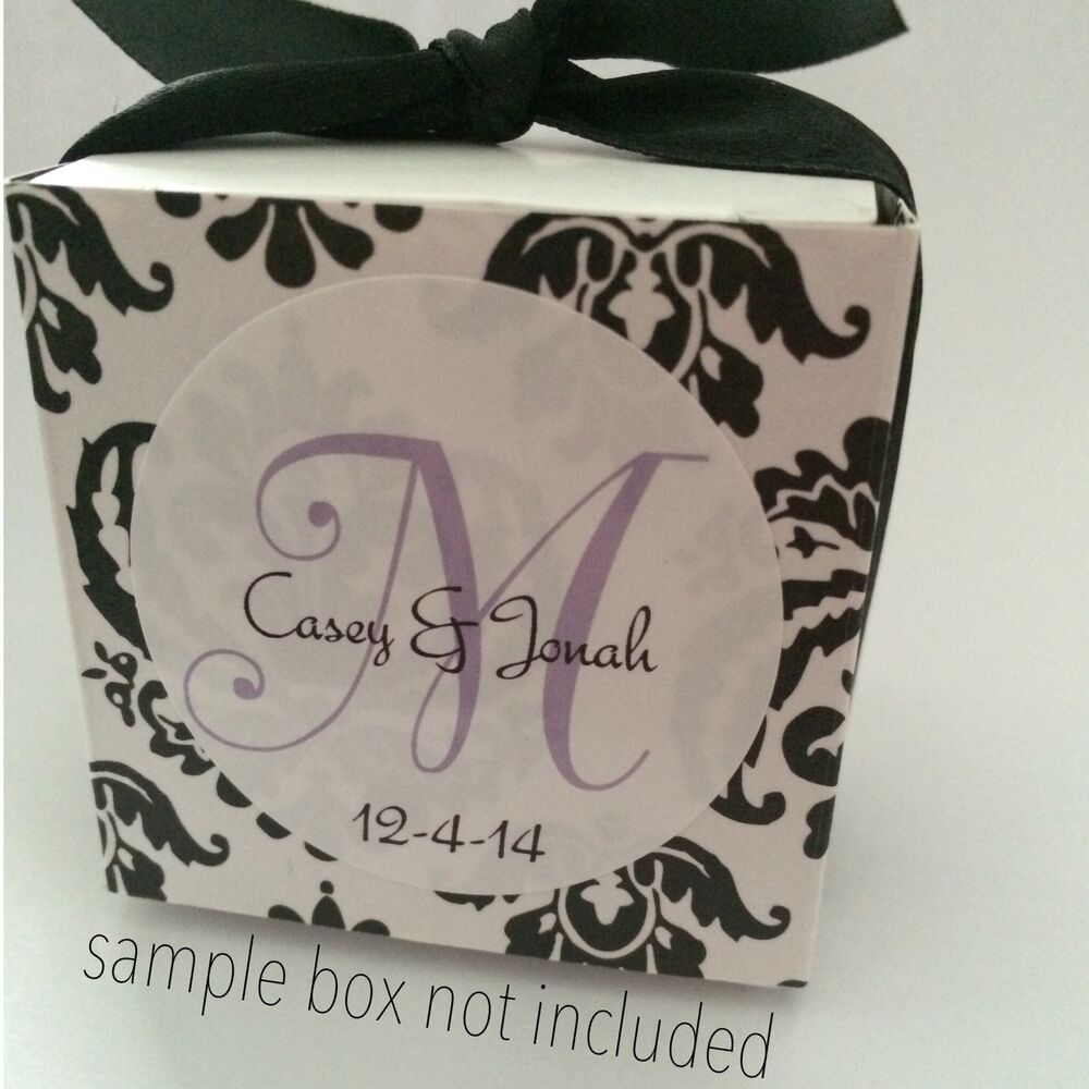 120 Personalized Wedding Favor Labels Stickers Monogram