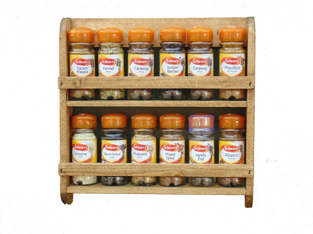 Wooden Spice Rack Wall Mounted Pine Shelf Kitchen