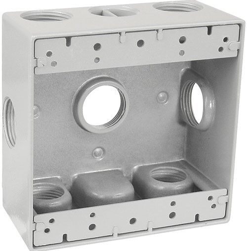 "4 4 Weatherproof Electrical Box: Weatherproof 2-Gang GRAY Metal Box W/ Seven 3/4"" Holes"