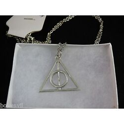 USA -  Harry Potter The Deathly Hallows Silver Charm  Pendant Necklace