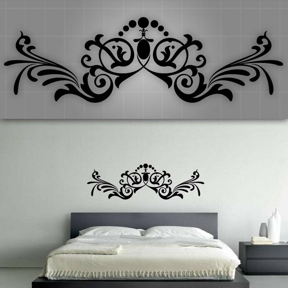 decorative headboard wall decal bedroom wall decor 48. Black Bedroom Furniture Sets. Home Design Ideas