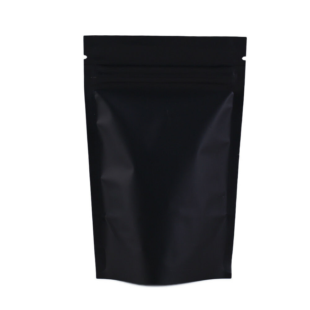 stand up black metallic mylar zip lock pouches bags b1o1 ebay. Black Bedroom Furniture Sets. Home Design Ideas