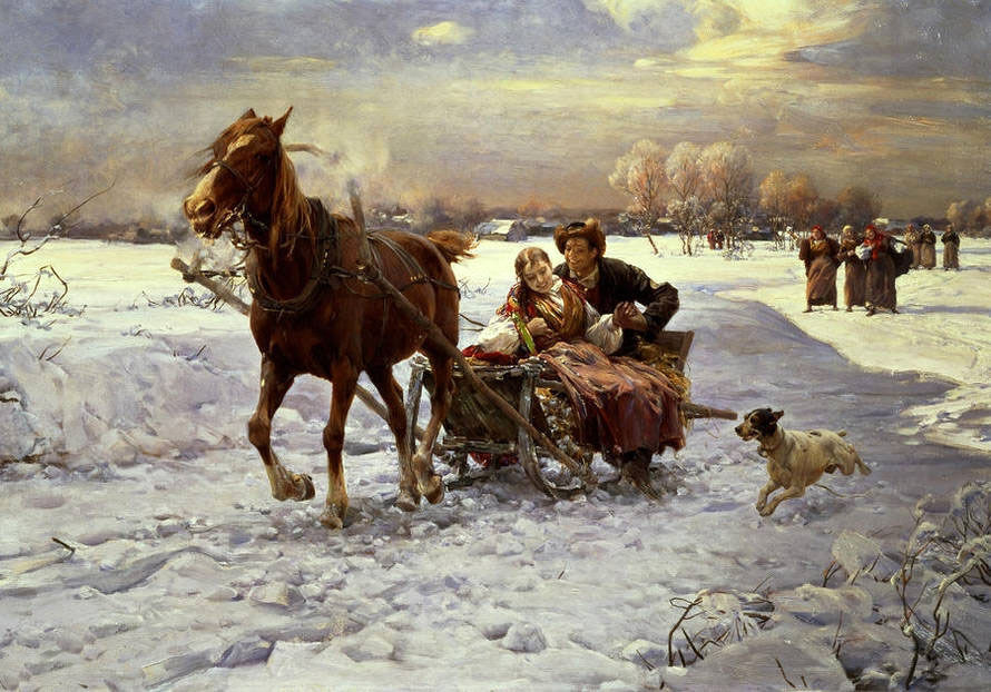 Beautiful Oil painting young couple on Horse-drawn sleigh in winter view & dog | eBay