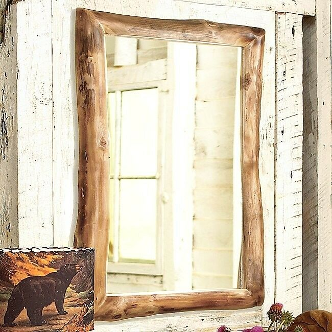 Aspen Log Mirror Country Western Rustic Cabin Wood