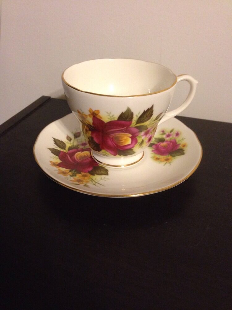 duchess bone china england pink flowers numbered teacup