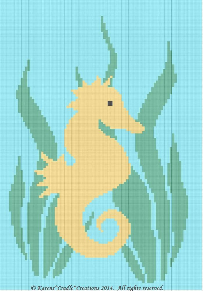 Crochet Patterns Seahorse And Seaweed Color Graph Afghan Pattern