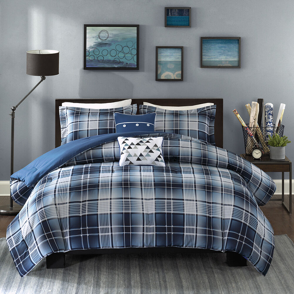 target bed sets beautiful modern blue grey white plaid stripe comforter 13436