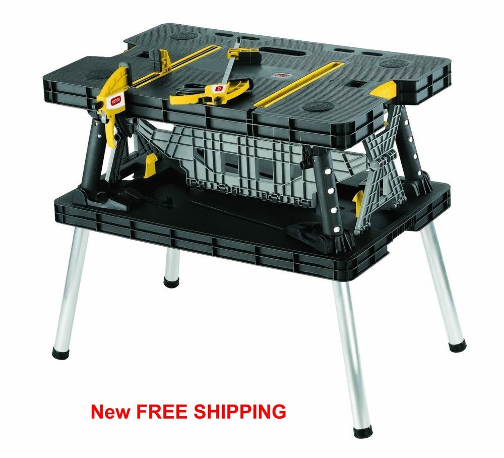 work table bench portable folding station wood clamps job site mobile cut new ebay. Black Bedroom Furniture Sets. Home Design Ideas