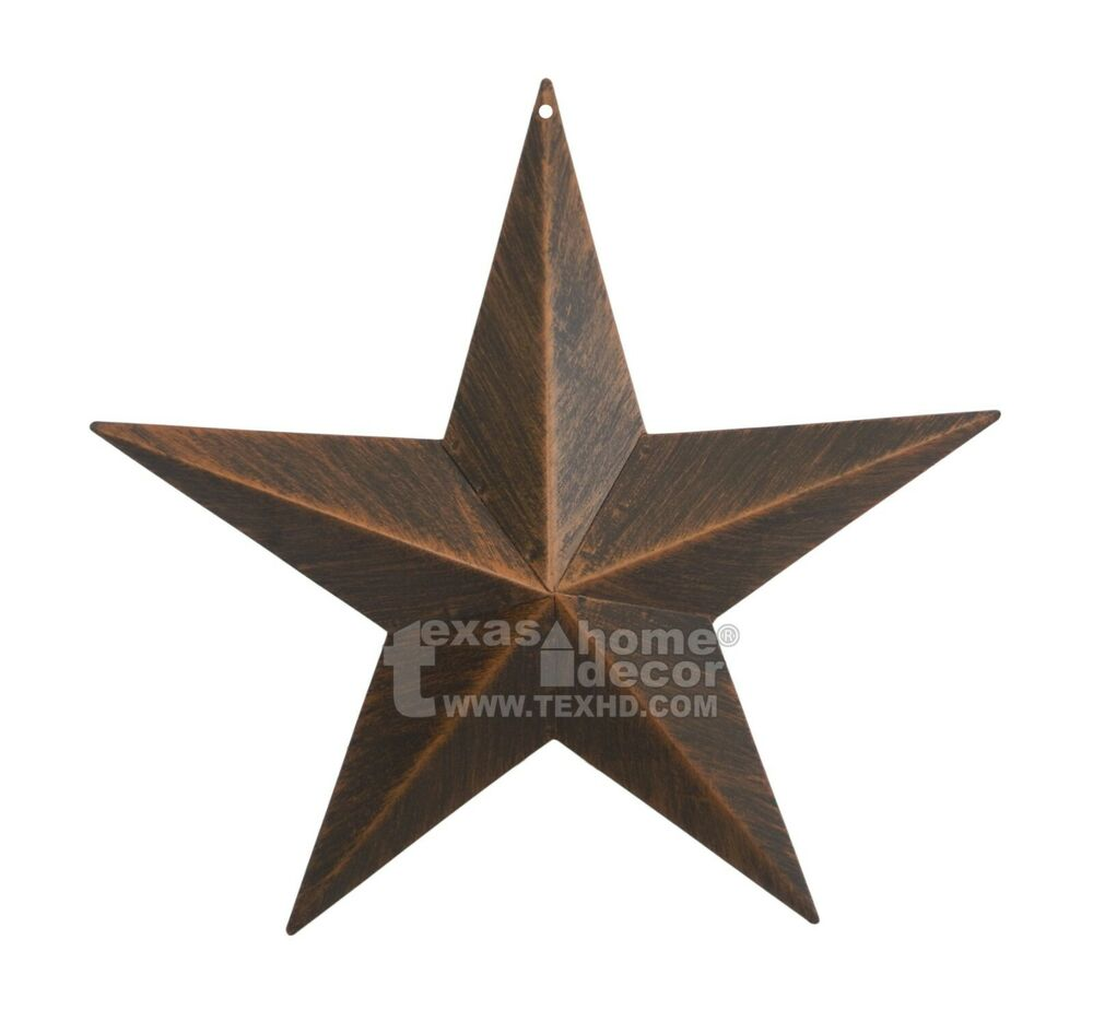 12u0026#034; Rustic Metal Barn Star Brushed Copper Texas Tin Wall Decor Wall  Mounted | eBay