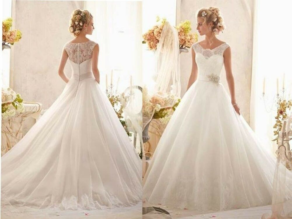 2014 new white ivory lace wedding dress bridal gown size 6 for White or ivory wedding dress