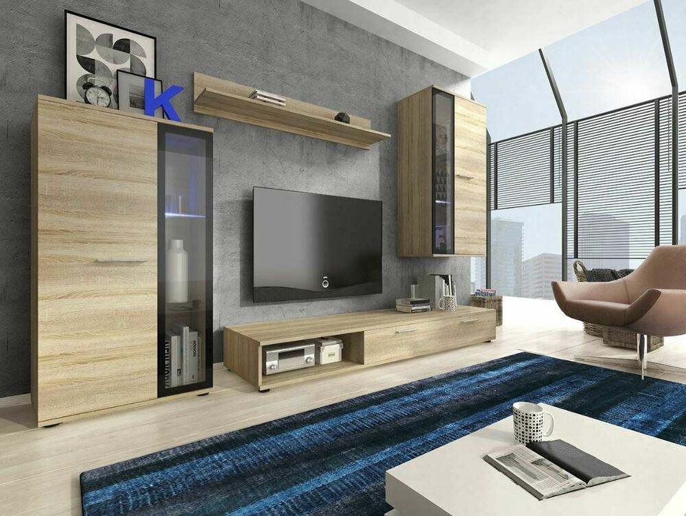 Modern living room furniture set tv unit cabinet stand cupboard wall shelves ebay - Modern cupboard for living room ...
