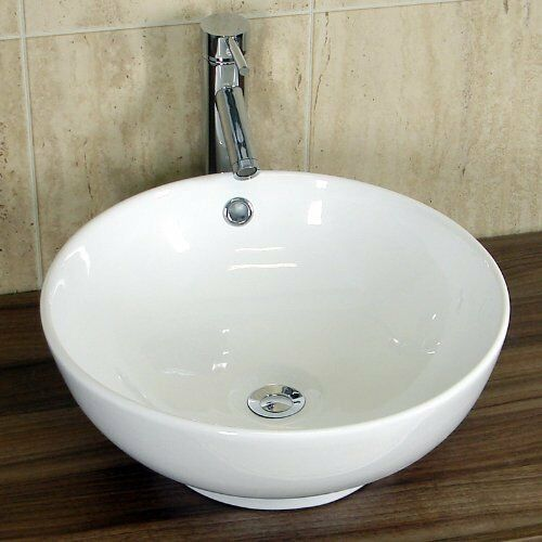 Round countertop bathroom cloakroom basin sink ceramic for Small sinks for bathrooms