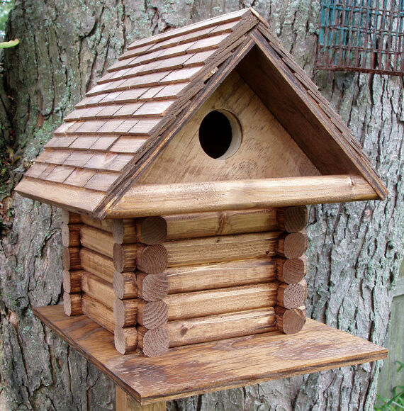 Log Cabin Style House Bird Wood Wooden Shingled Roof