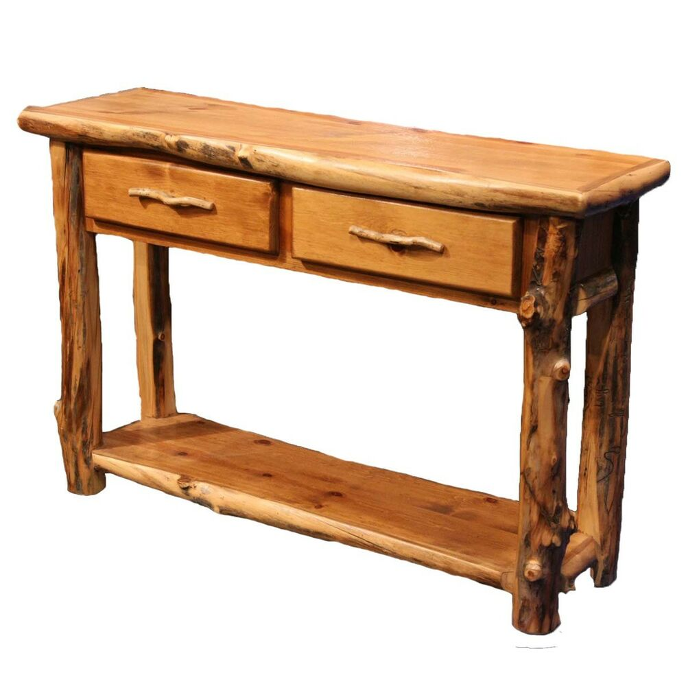 Log sofa table country western cabin rustic wood living for Living room sofa table decorating