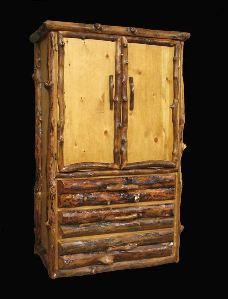Log armoire drawer rustic country western cabin wood