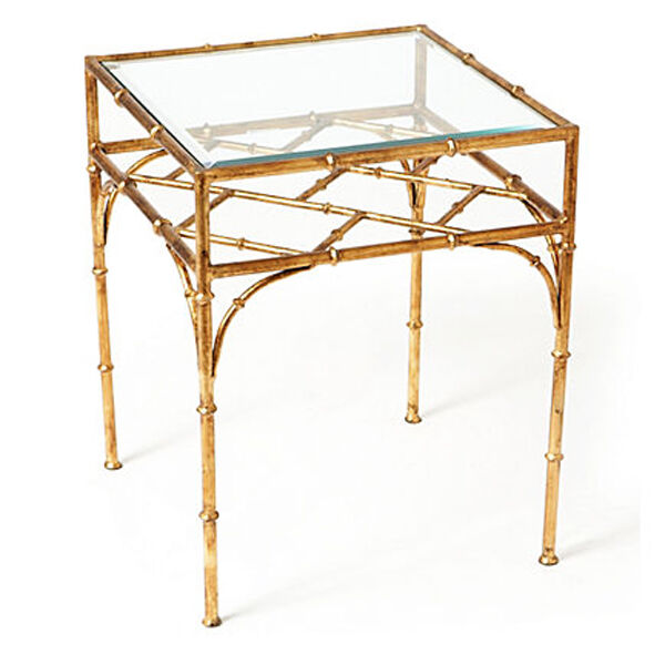 "Bamboo Gold Table: ""SHANGHAI GARDEN"" SQUARE GLASS TOP BAMBOO STYLE TABLE"