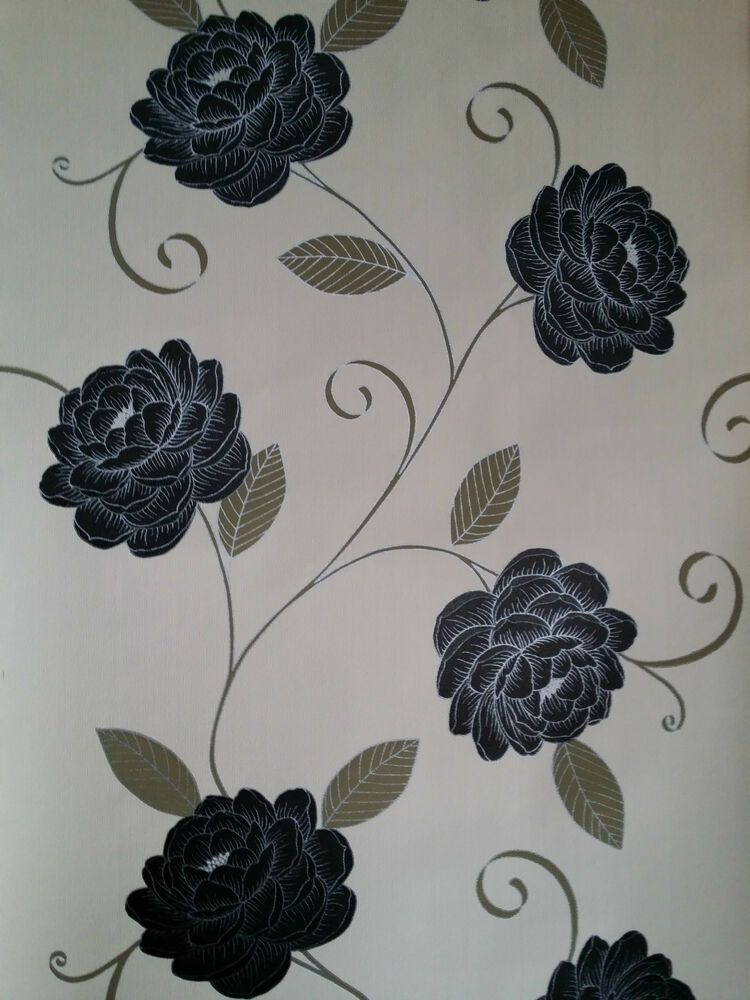 Puccini range black beige cream wallpaper flower floral for Black and cream wallpaper
