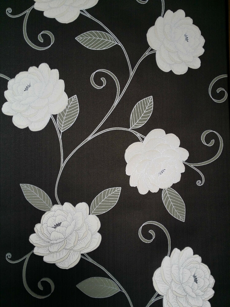 Puccini range black cream wallpaper flower floral for Black and cream wallpaper