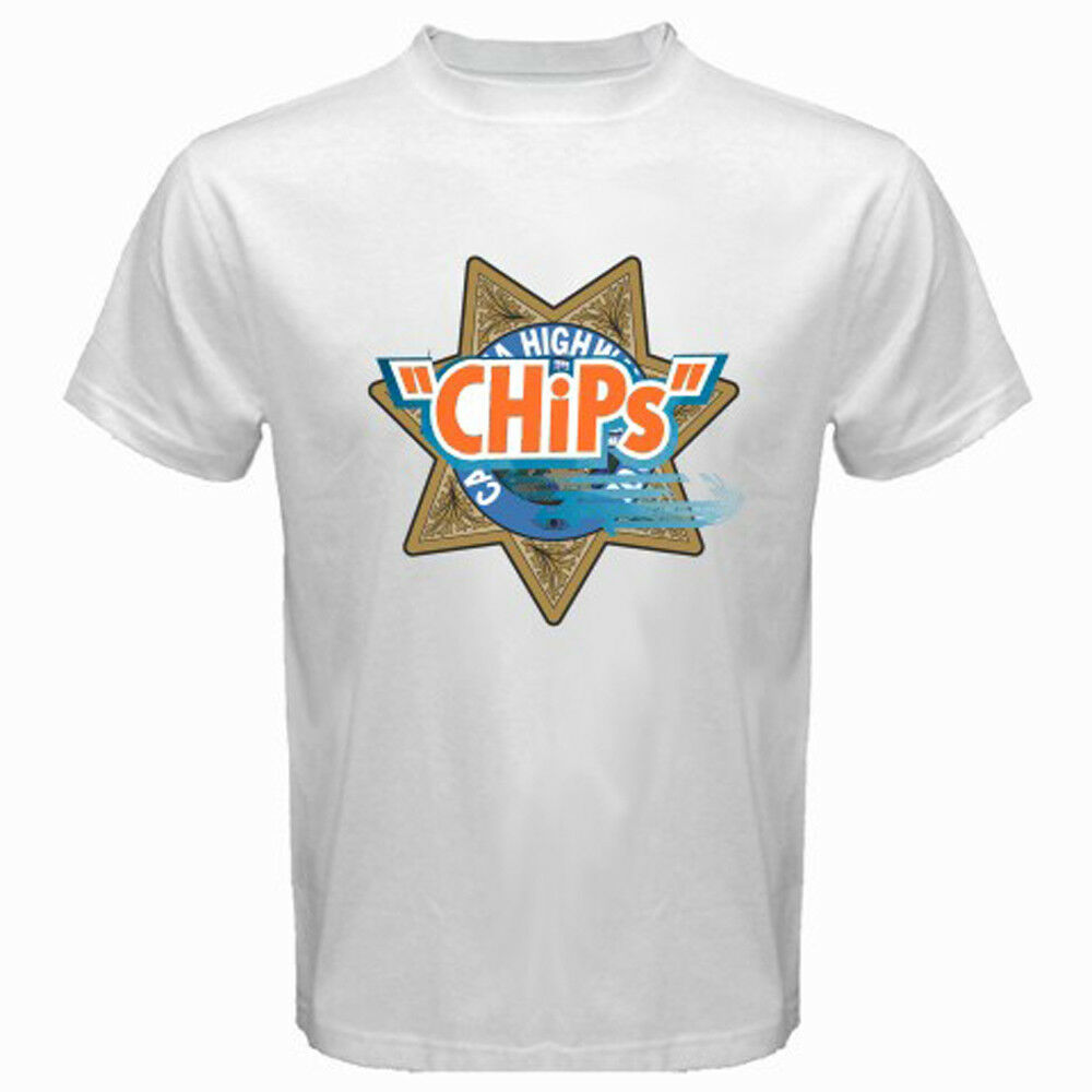 new chips motorcycle police logo retro tv show mens white
