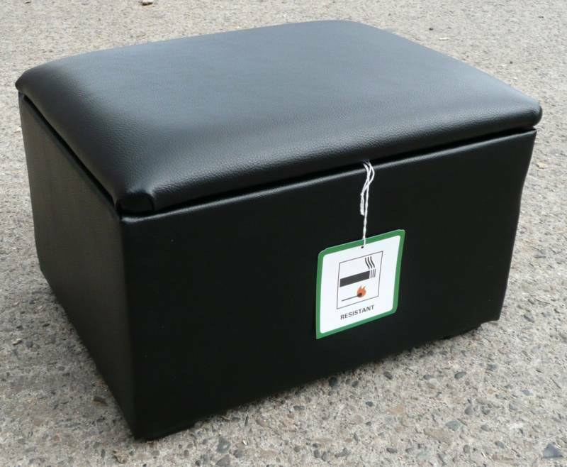 Black Faux Leather Storage Box Pouffes Footstools Ebay