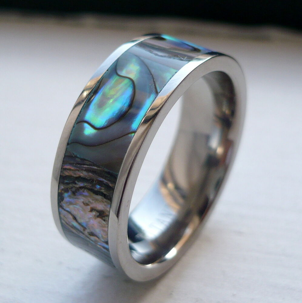 Rainbow Wedding Rings: 8MM MEN'S TITANIUM WEDDING BAND RING/ RAINBOW RIPPLED