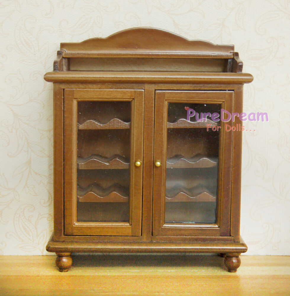 Dollhouse Furniture Wine Cabinet Buffet Hutch Wooden Without Bottles Glasses Ebay