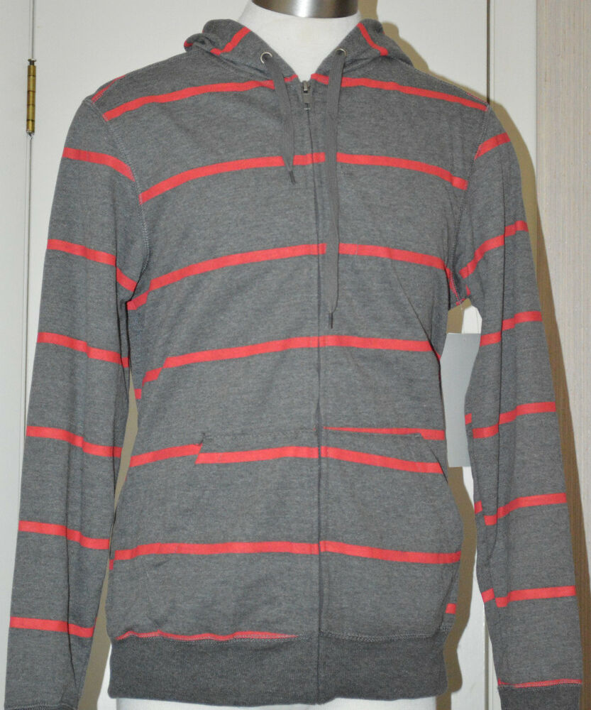 Menu0026#39;s Chalc Dark Gray u0026 Red Striped Full Zip Fleece Hoodie Jacket Size Medium | eBay