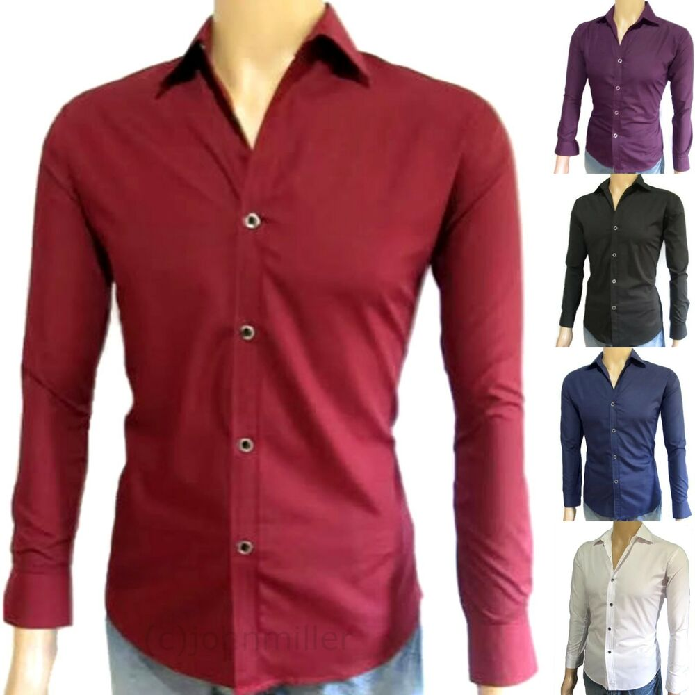 Men 39 s slim fit shirt long sleeve fitted casual dress for Long sleeve fitted tee shirt