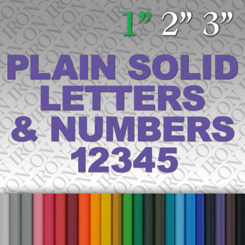 iron on plain solid letters numbers vinyl fabric t shirt transfer sticker hot ebay. Black Bedroom Furniture Sets. Home Design Ideas