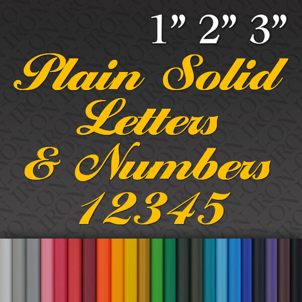 Iron On Plain Solid Letters Numbers Vinyl Fabric T Shirt
