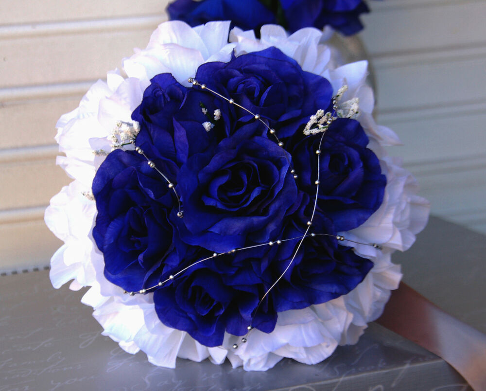 Blue And White Silk Wedding Bouquets : Bouquets royal blue white silver gray wedding silk